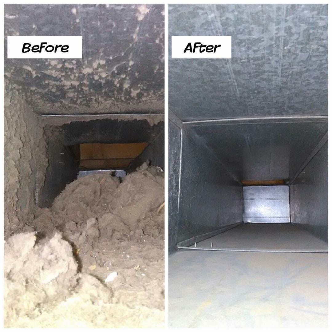 Build up of debris in vent. Before and after picture