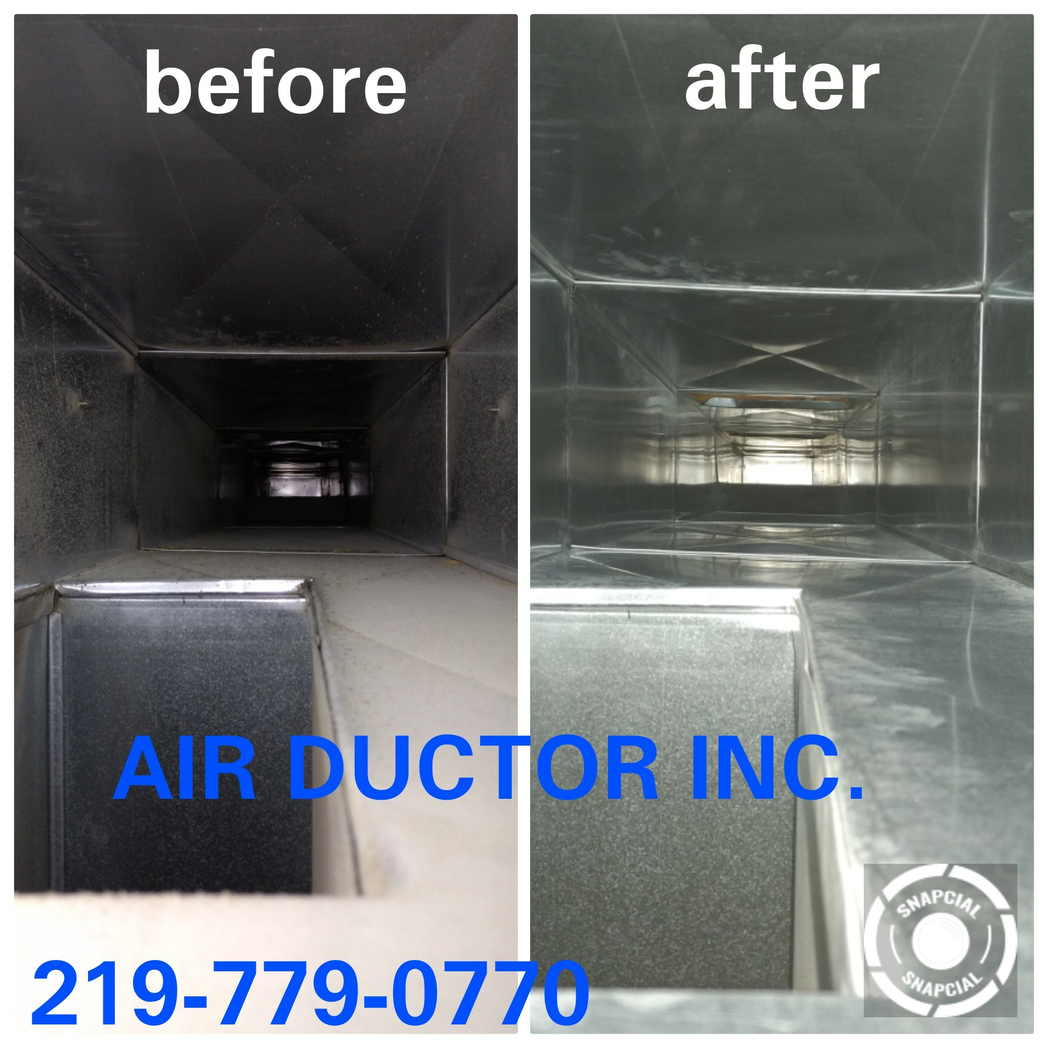 Air duct pictures before and after of a dirty then clean air duct.