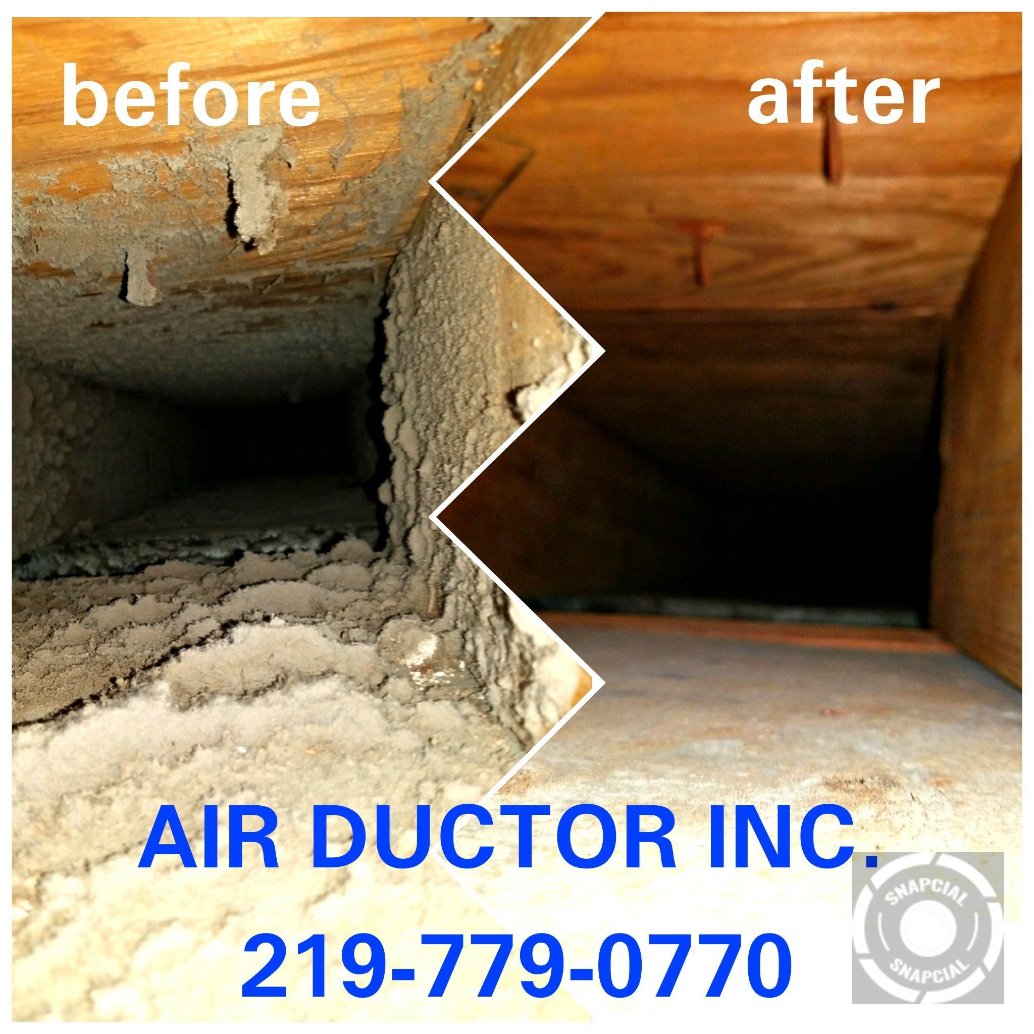 Before and after pictures of an air duct cleaning service performed.