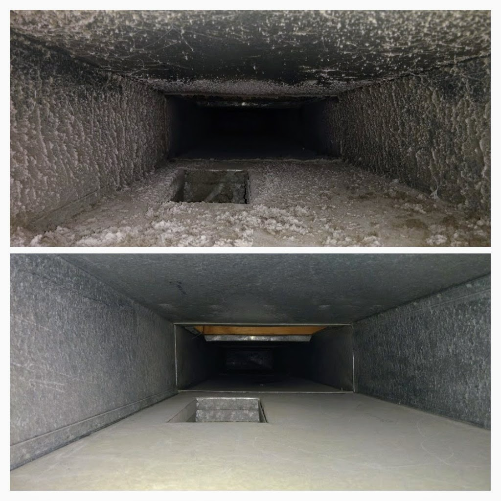 Before and after shots of air ducts.